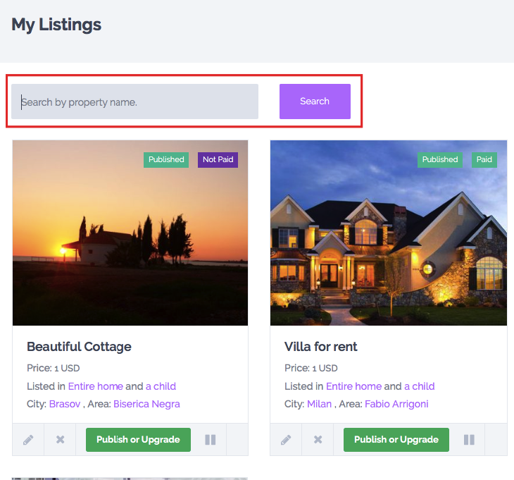 Search Rental Homes: MY PROPERTIES USER DASHBOARD PAGE